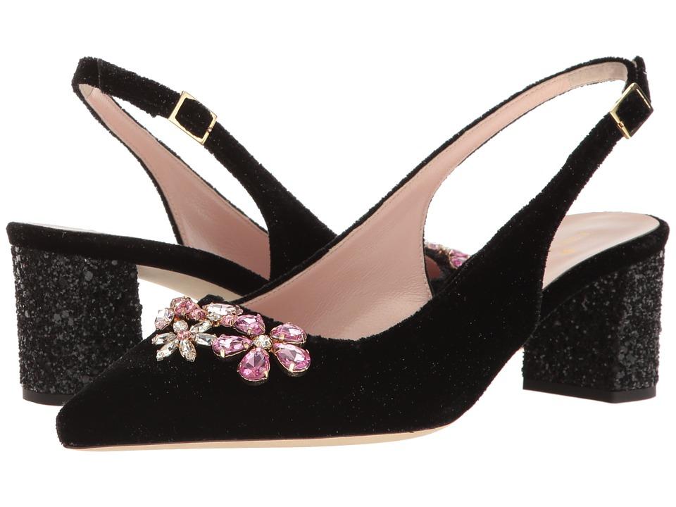 Kate Spade New York - Montana (Black Star Velvet/Black Glitter) Women's Slip-on Dress Shoes