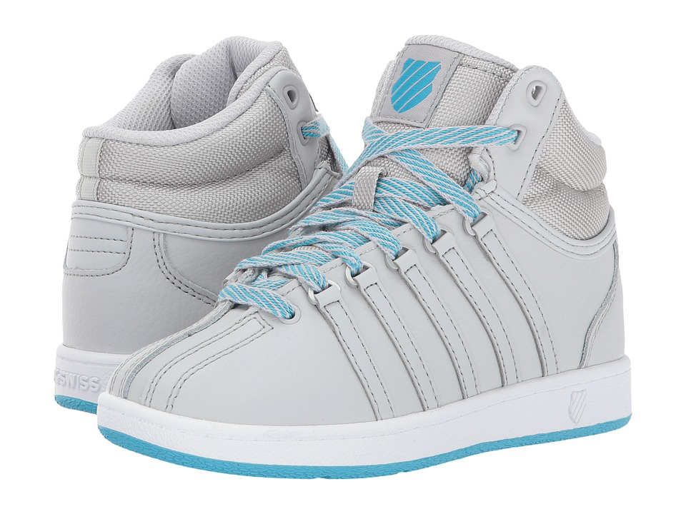 K-Swiss Kids - Classic VN Midtm (Little Kid) (Glacier Gray/White/Blue Atoll) Kids Shoes