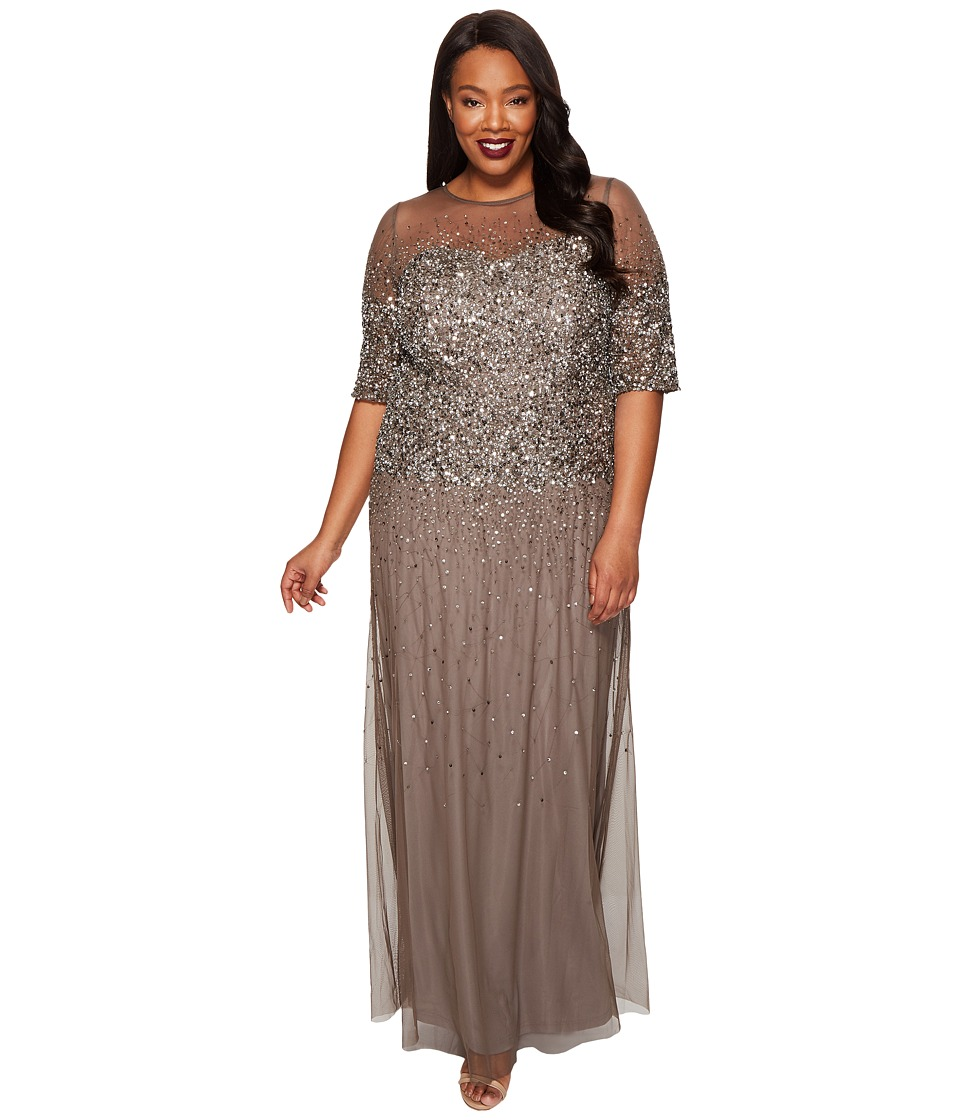 Adrianna Papell - Plus Size Long Beaded Illusion Gown w/ Elbow Sleeve (Lead) Women's Dress