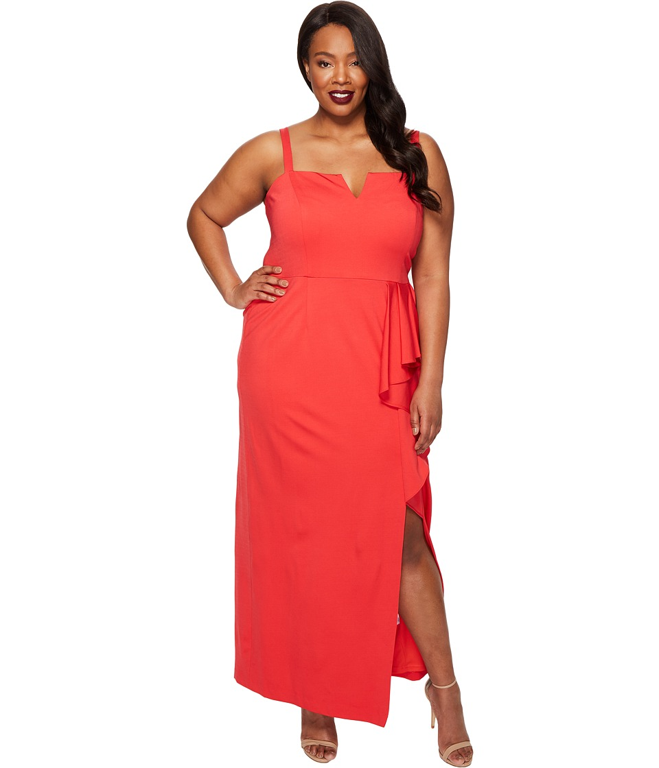 Adrianna Papell Plus Size Jersey Front Cascade Gown (Hot Tomato) Women