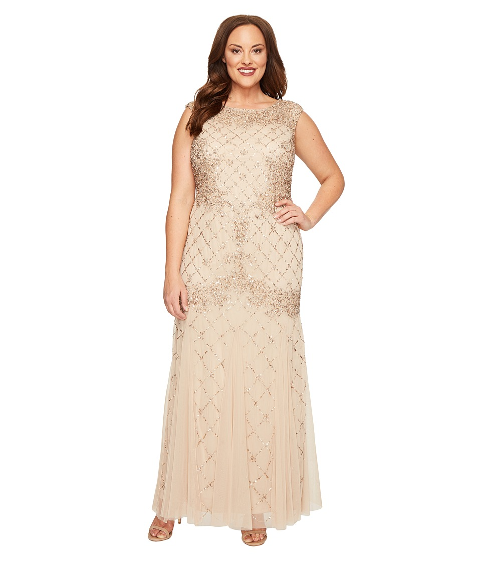 Adrianna Papell - Plus Size Cap Sleeve Fully Beaded Lattice Motif Gown (Champagne) Women's Dress