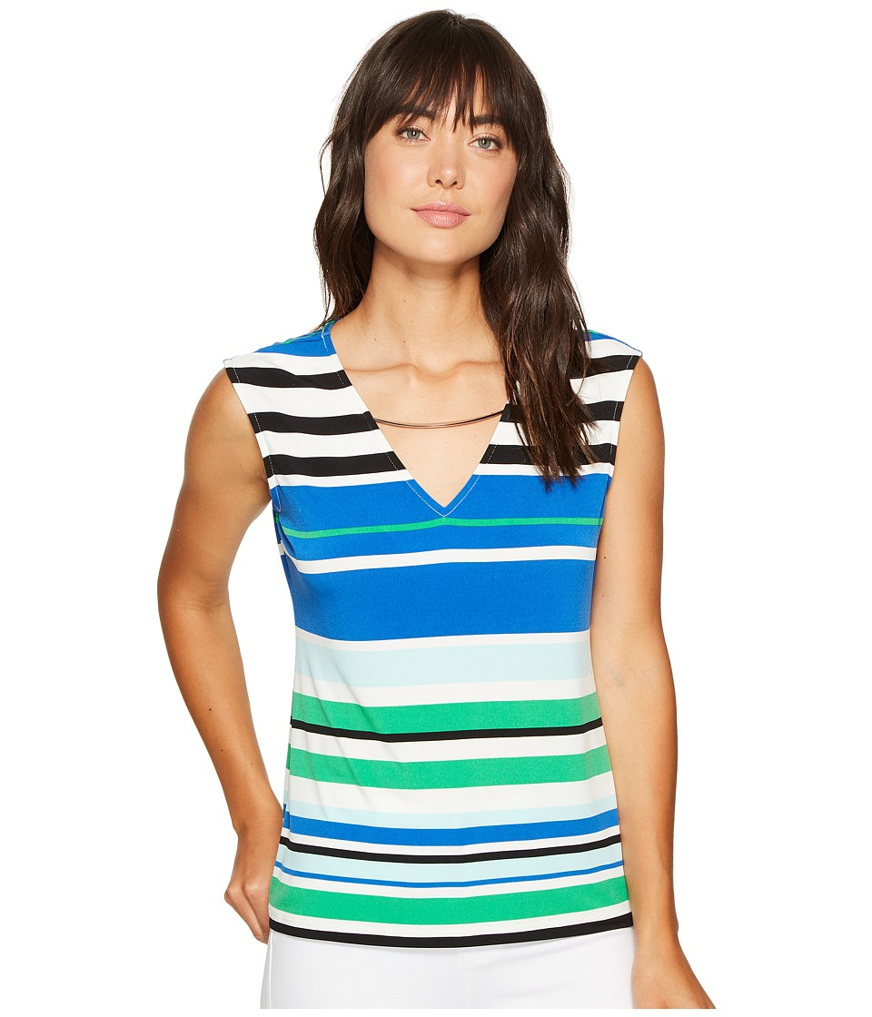 Calvin Klein - Sleeveless Printed Top with Curved Hardware (Maganese Combo 1) Women's Clothing