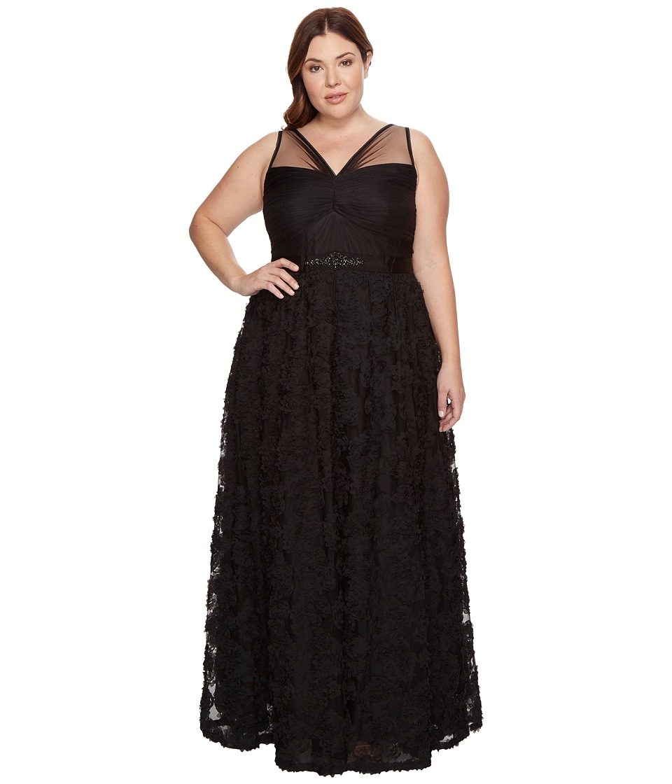 Adrianna Papell - Plus Size Sleeveless Long Tule Rosette Ball Gown (Black) Women's Dress