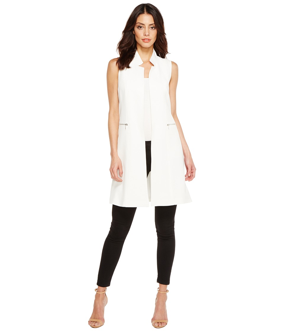Calvin Klein - Long Vest with Zips (Soft White) Women's Vest