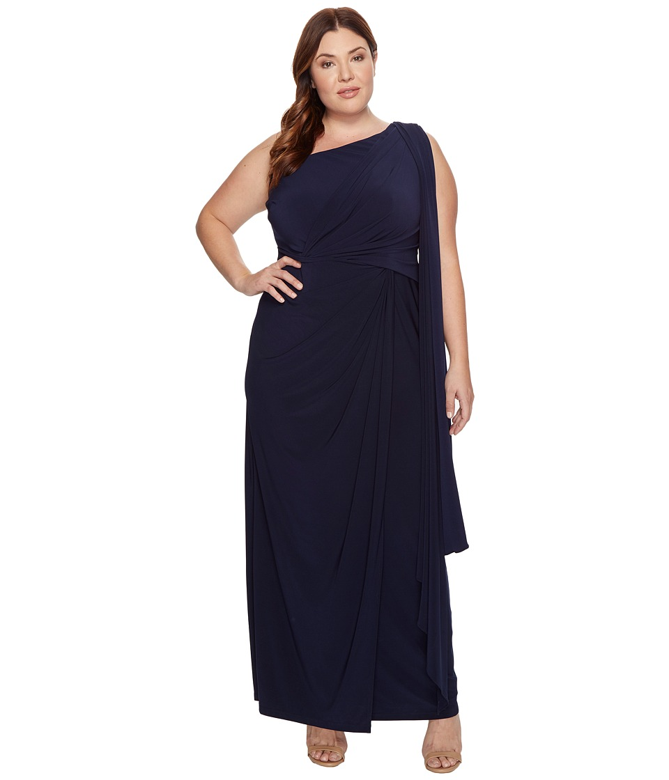 Adrianna Papell Plus Size One Shoulder Jersey Halter Long Gown (Midnight) Women