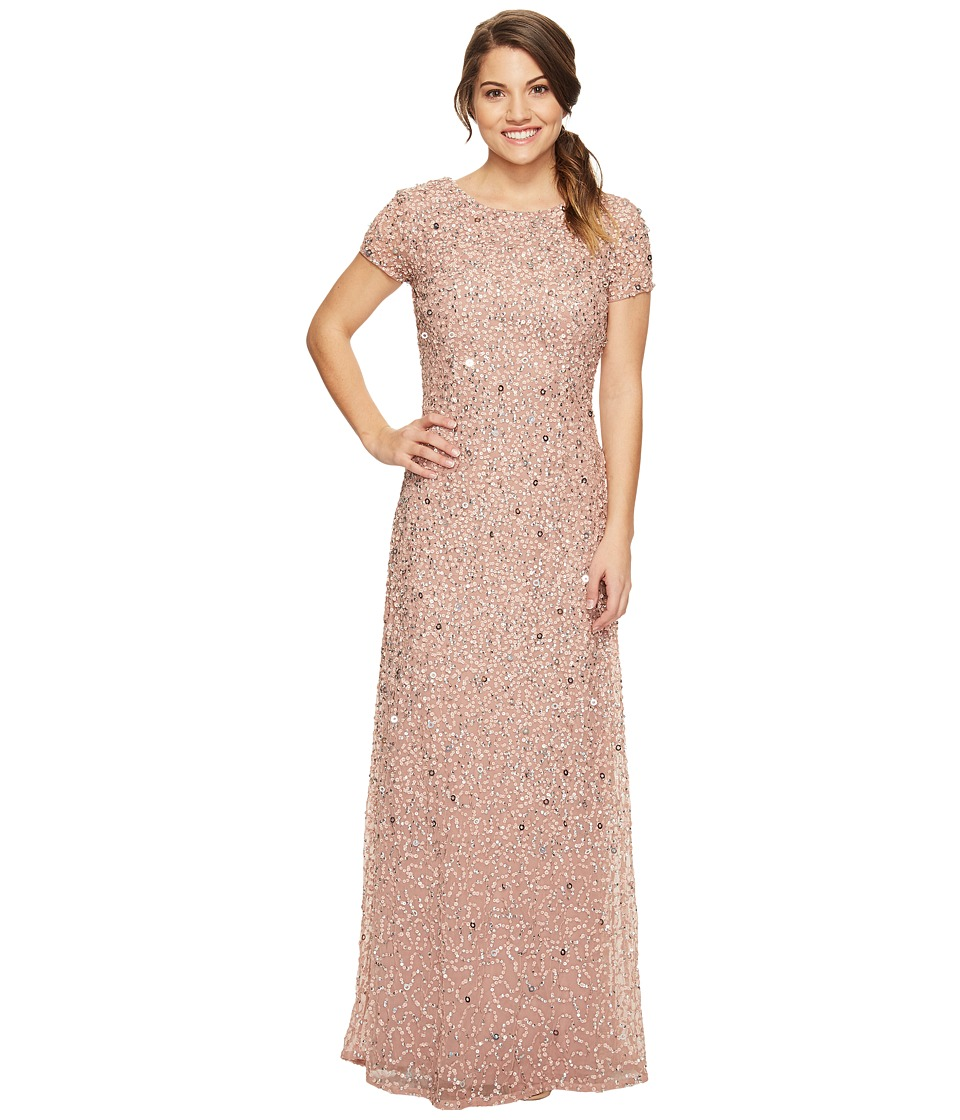 Adrianna Papell - Petite Short Sleeve Scoop Back Fully Beaded T-Shirt Gown (Antique Rose) Women's Dress