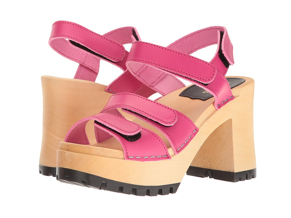 Swedish Hasbeens - Velcra (Neon Pink) High Heels