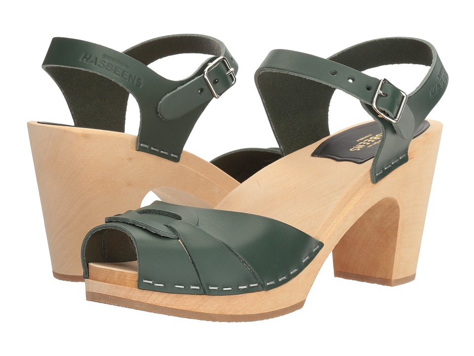 Swedish Hasbeens - Peep Toe Super High (Deep Green) Women's Sandals