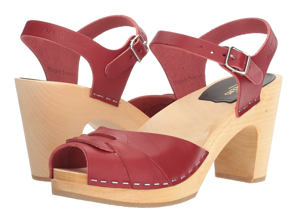Swedish Hasbeens - Peep Toe Super High (Wine Red) Women's Sandals