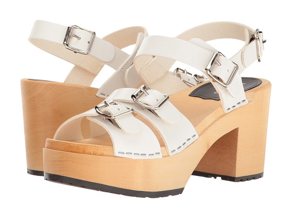 Swedish Hasbeens - Buckle Sandal (White) Women's Clog/Mule Shoes