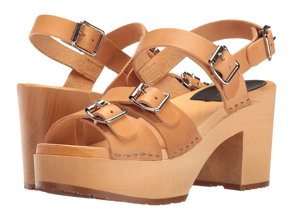 Swedish Hasbeens - Buckle Sandal (Nature) Women's Clog/Mule Shoes