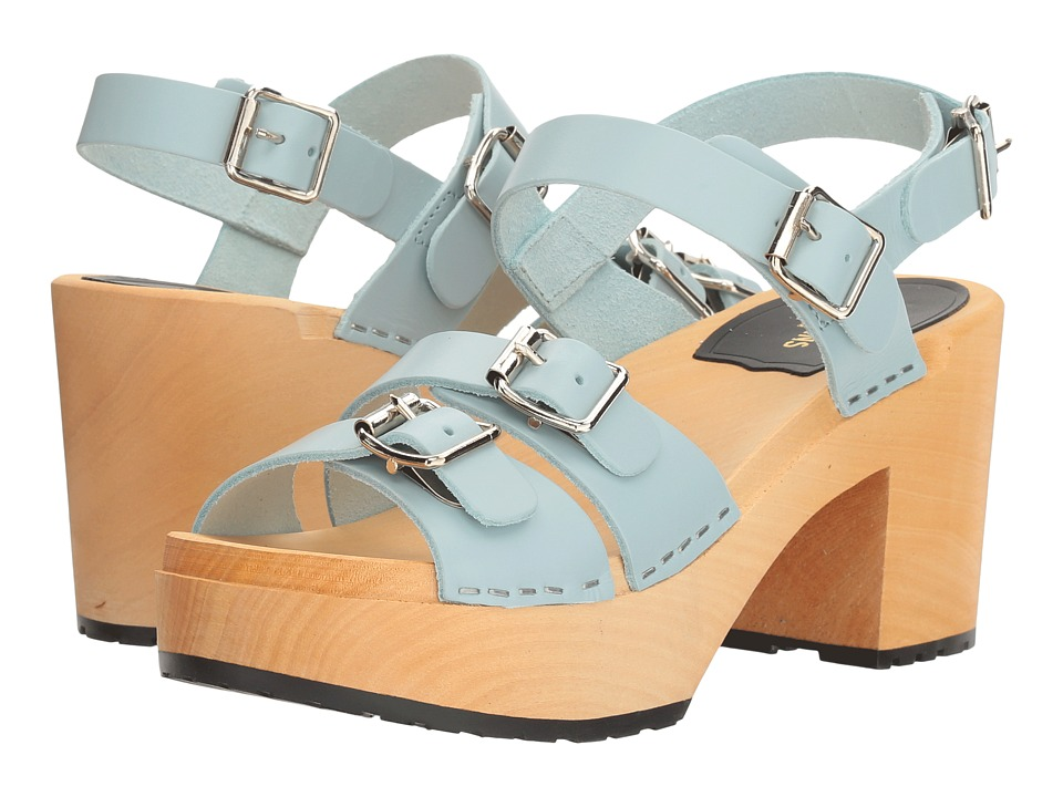 Swedish Hasbeens - Buckle Sandal (Baby Blue) Women's Clog/Mule Shoes