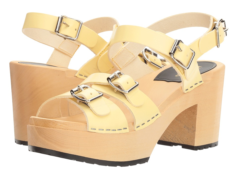 Swedish Hasbeens - Buckle Sandal (Pastel Yellow) Women's Clog/Mule Shoes