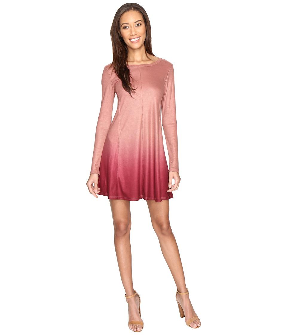 Culture Phit - Leighton Long Sleeve Ombre Dress (Wine) Women's Dress