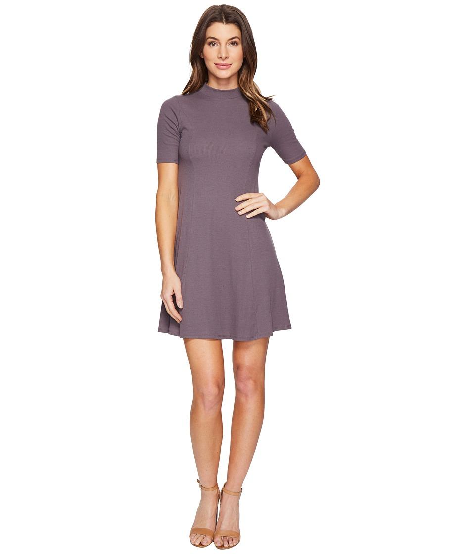 Culture Phit - Fleta Mock Neck Dress (Charcoal) Women's Dress