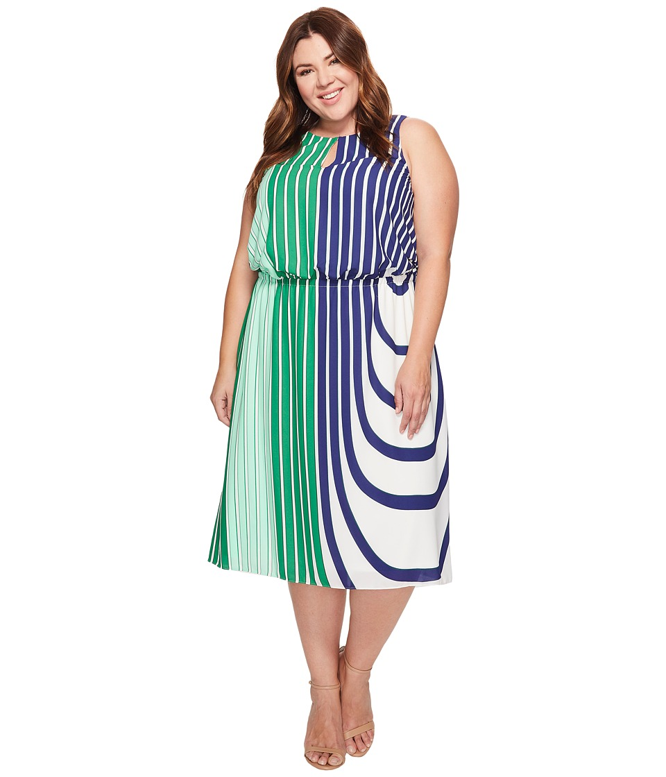 Adrianna Papell - Plus Size Beta Stripe Printed Georgette Blouson Halter Midi Dress (Green Multi) Women's Dress