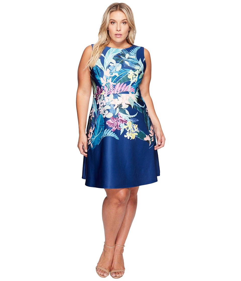 Adrianna Papell - Plus Size Tropical Essence Printed Scuba Jewel Neck Fit and Flare Dress (Navy Multi) Women's Dress