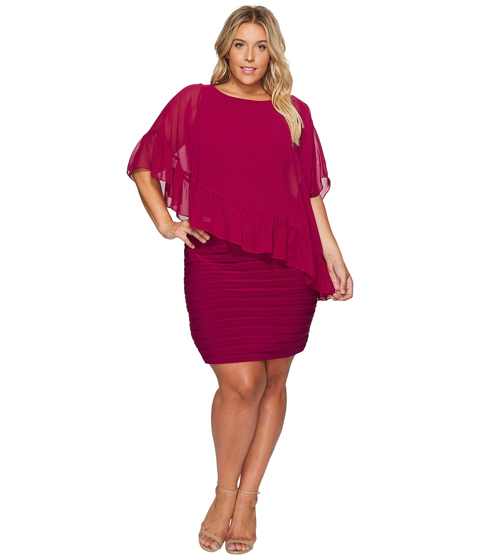 Adrianna Papell Plus Size Banded Sheath with Ruffle Cape (Sangria) Women