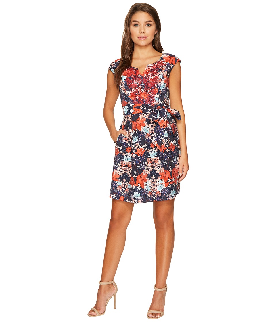 Adrianna Papell - Petite Printed Linenette Mirrored Dreams Fit and Flare with Embroidery (Blue Multi) Women's Dress