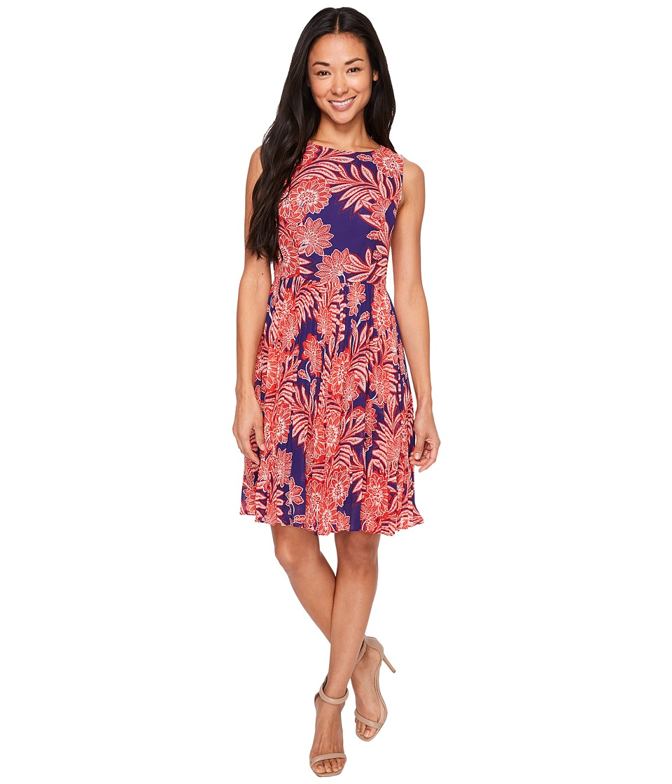 Adrianna Papell - Petite Paisley Bandana Printed Chiffon Pleated Fit and Flare Dress (Navy Multi) Women's Dress