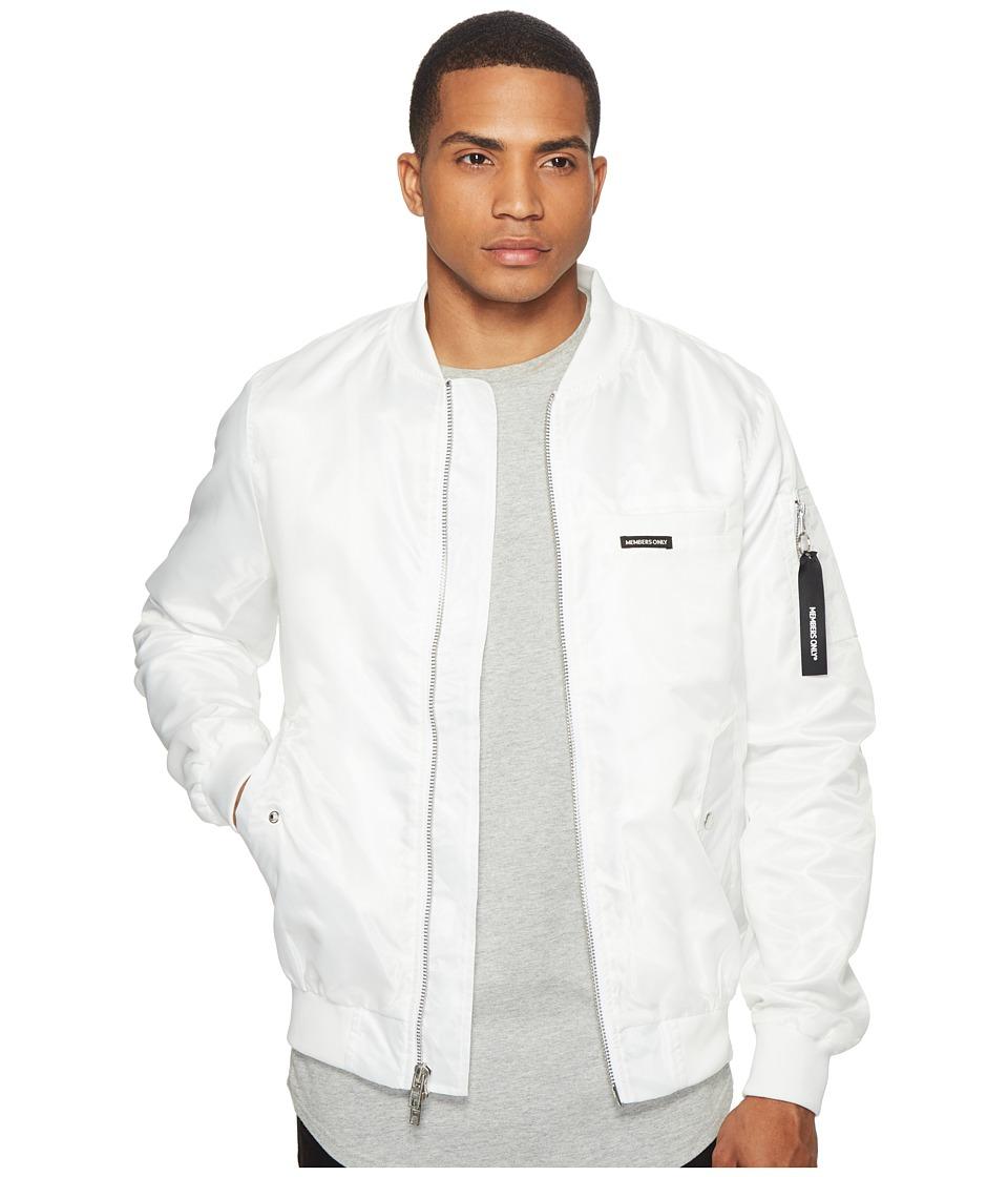 Members Only - MO-1 Bomber w/ Grafitti Lining (White) Men's Coat