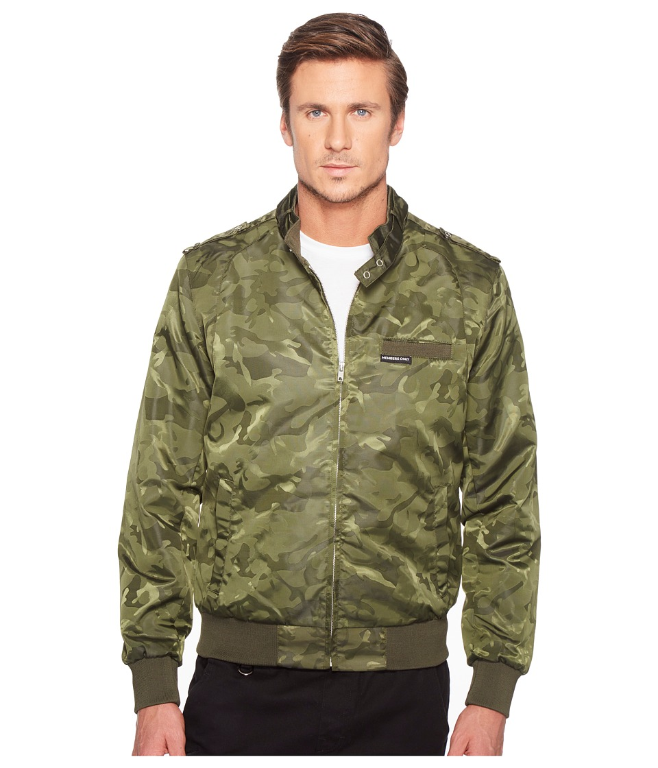 Members Only - Iconic Jacquard Racer Jacket (Olive) Men's Coat