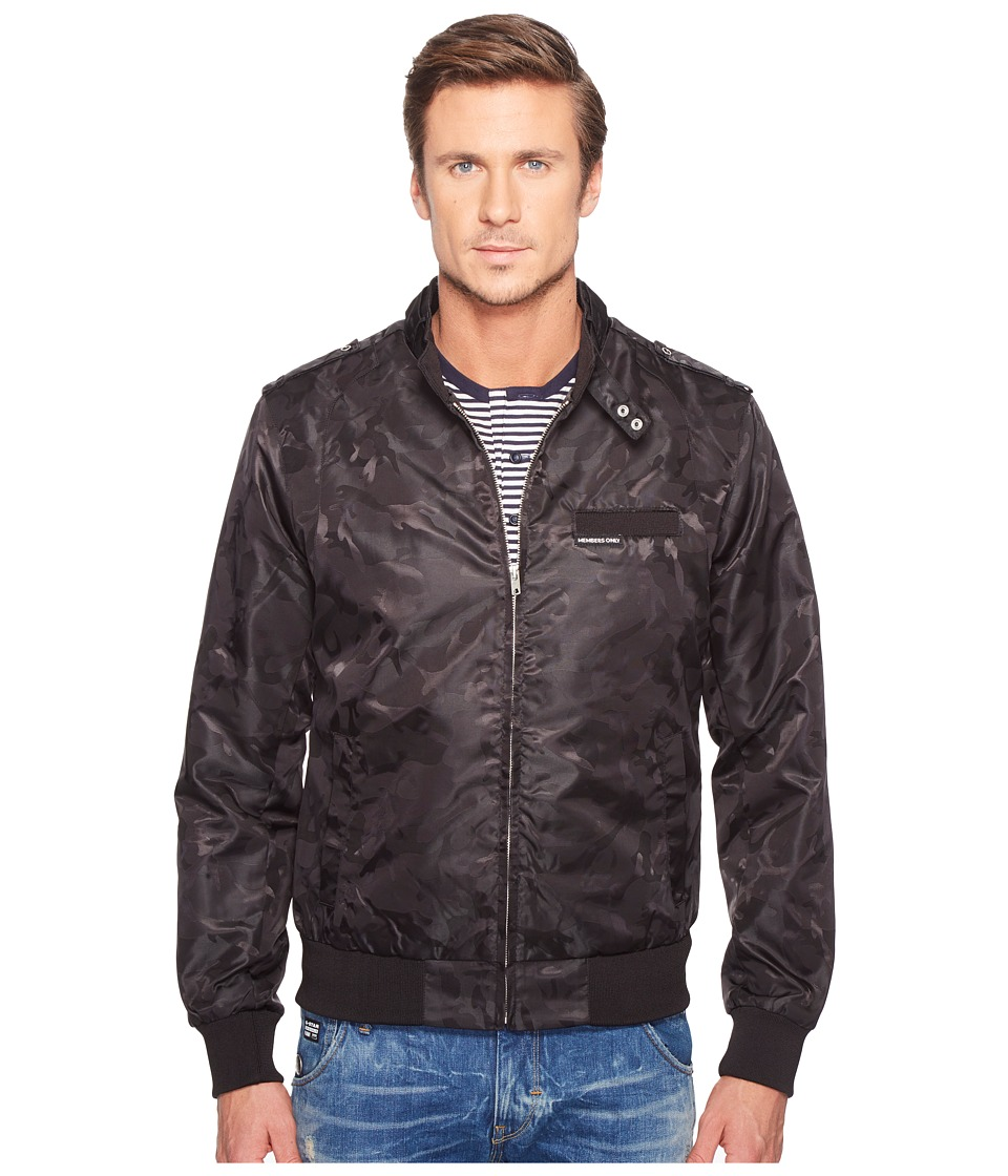 Members Only - Iconic Jacquard Racer Jacket (Black) Men's Coat