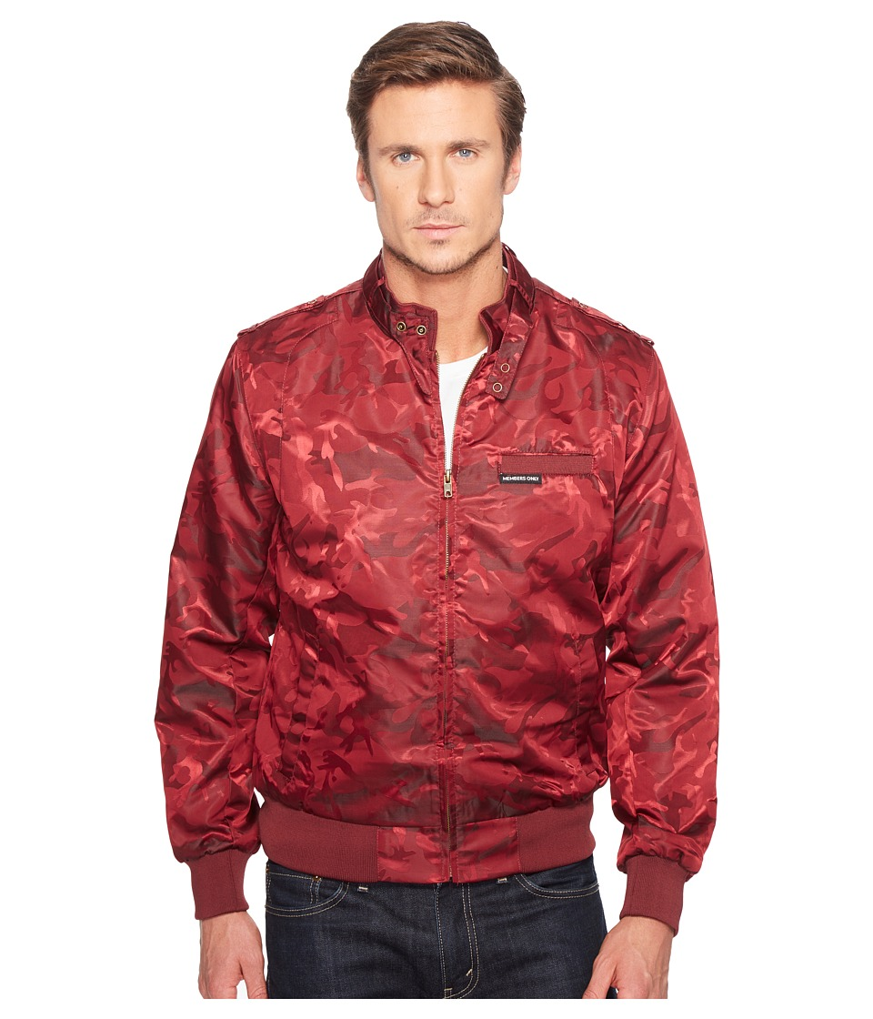 Members Only - Iconic Jacquard Racer Jacket (Burgundy) Men's Coat