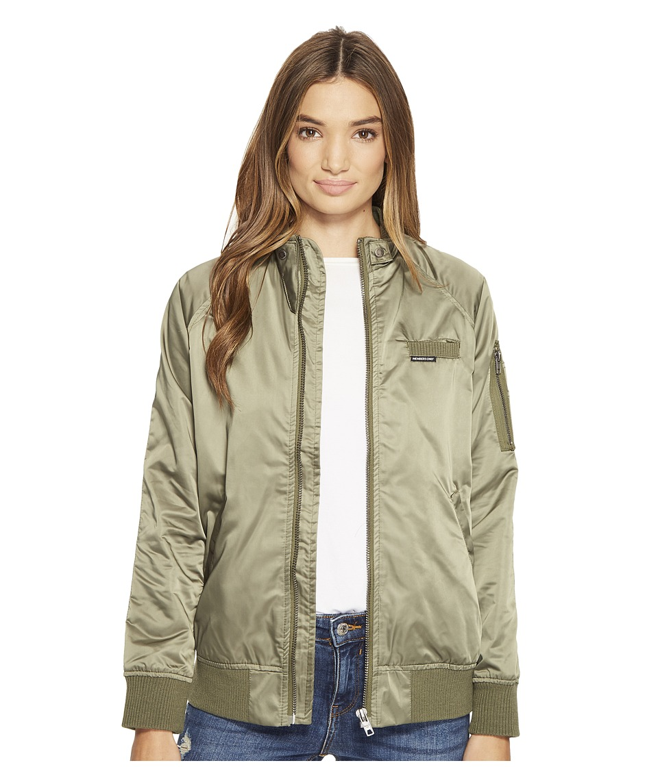 Members Only - Washed Satin Ex-Boyfriend Jacket (Light Olive) Women's Coat