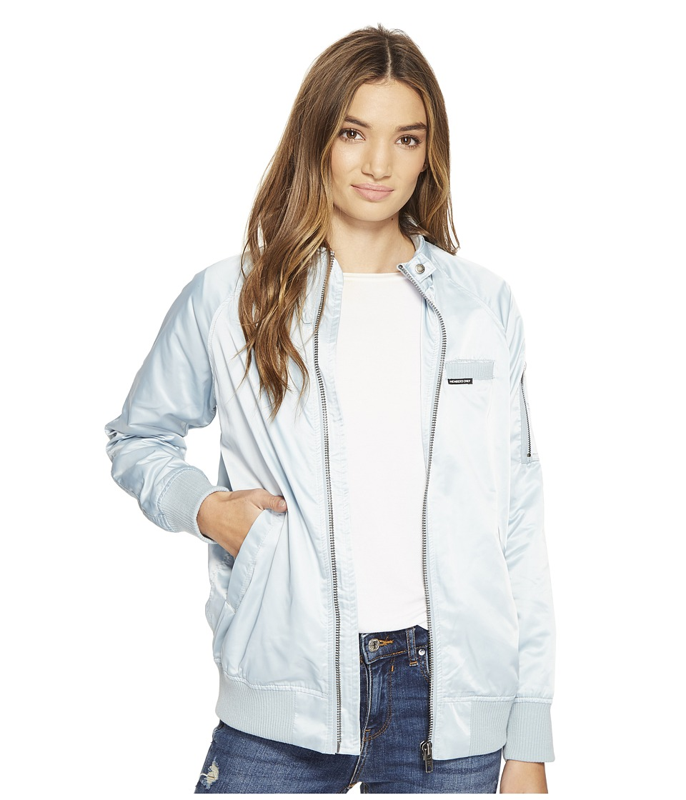 Members Only - Washed Satin Ex-Boyfriend Jacket (Wash Blue) Women's Coat