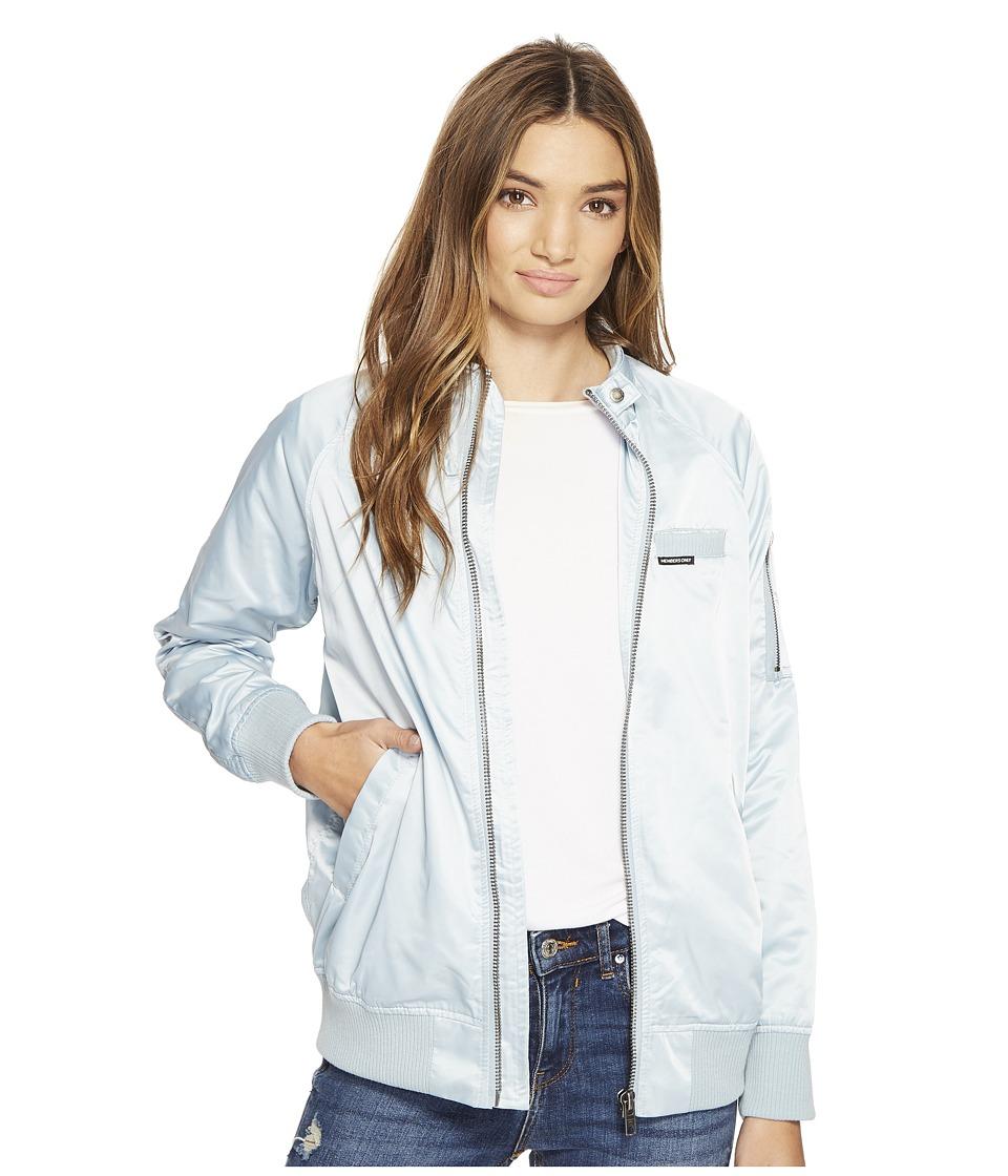 Members Only - Washed Satin Ex-Boyfriend Jacket (Wash Blue) Women's Coat
