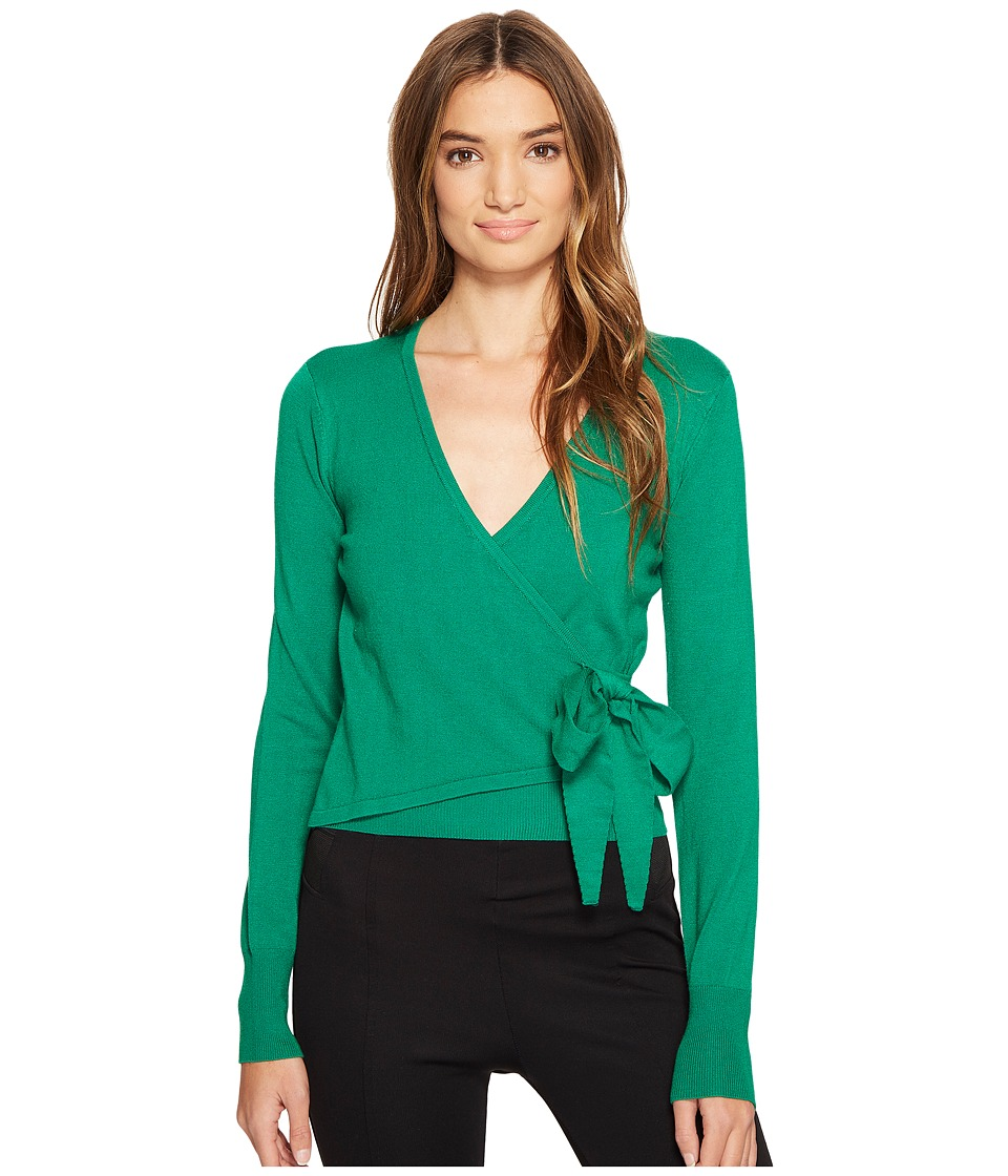 XOXO - Long Sleeve Wrap Front Cardigan (Green) Women's Sweater