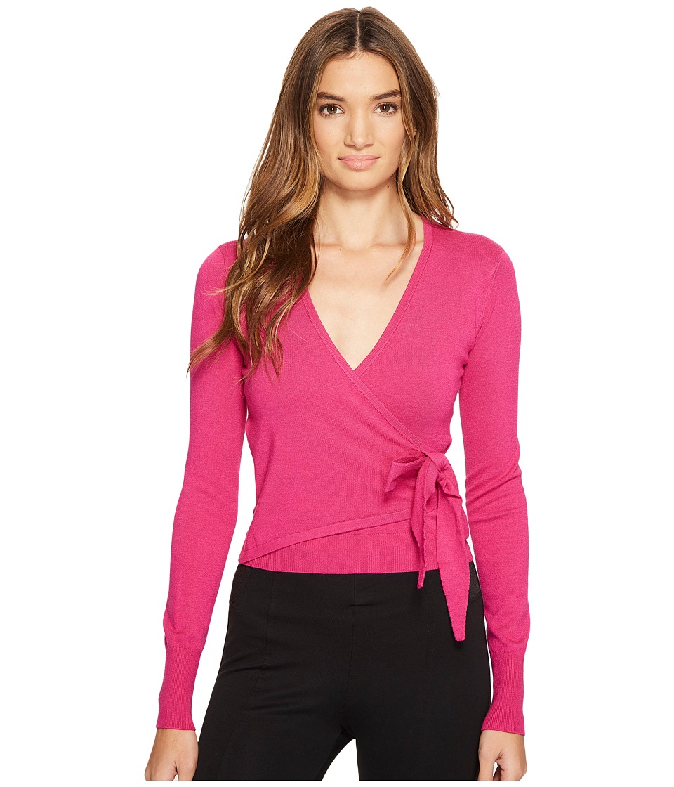 XOXO - Long Sleeve Wrap Front Cardigan (Pink) Women's Sweater