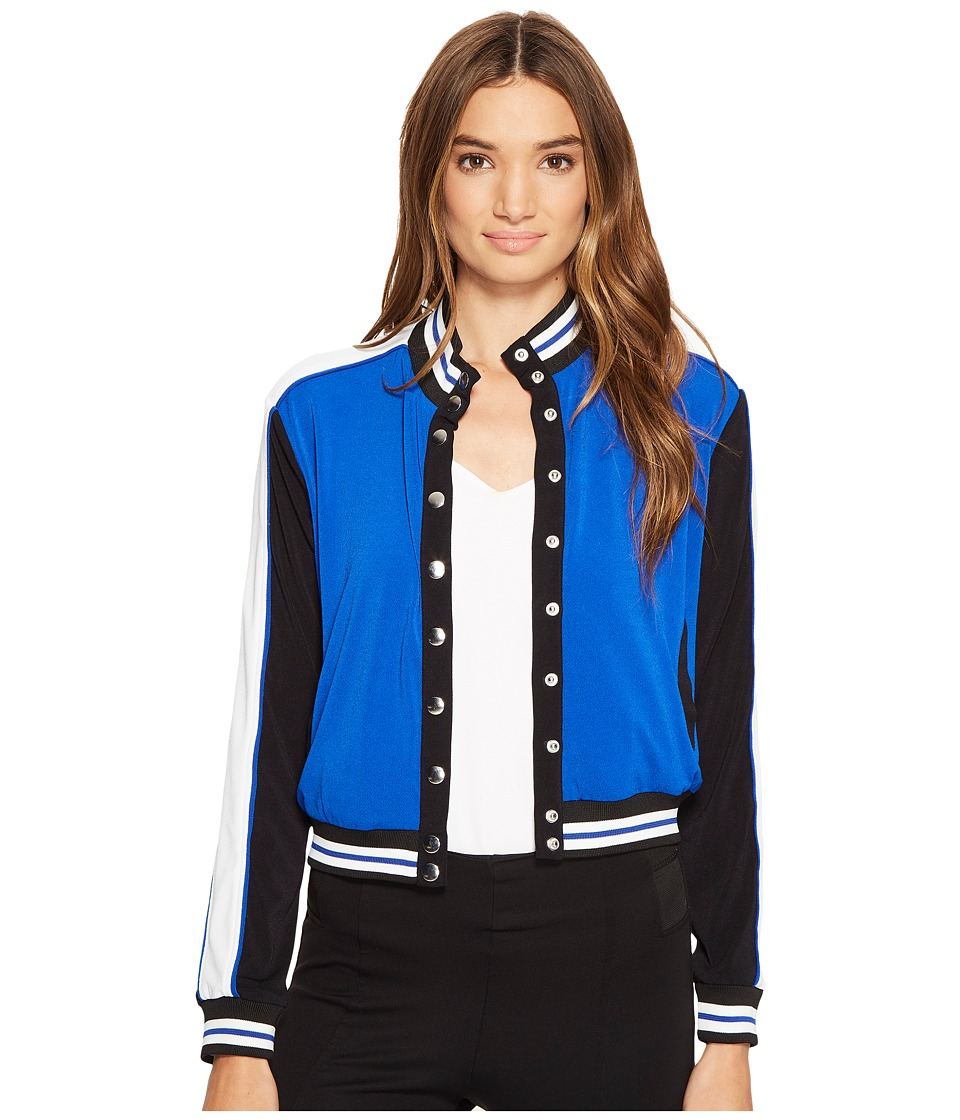 XOXO - Button Up Bomber Jacket w/ Rib (Cobalt) Women's Coat