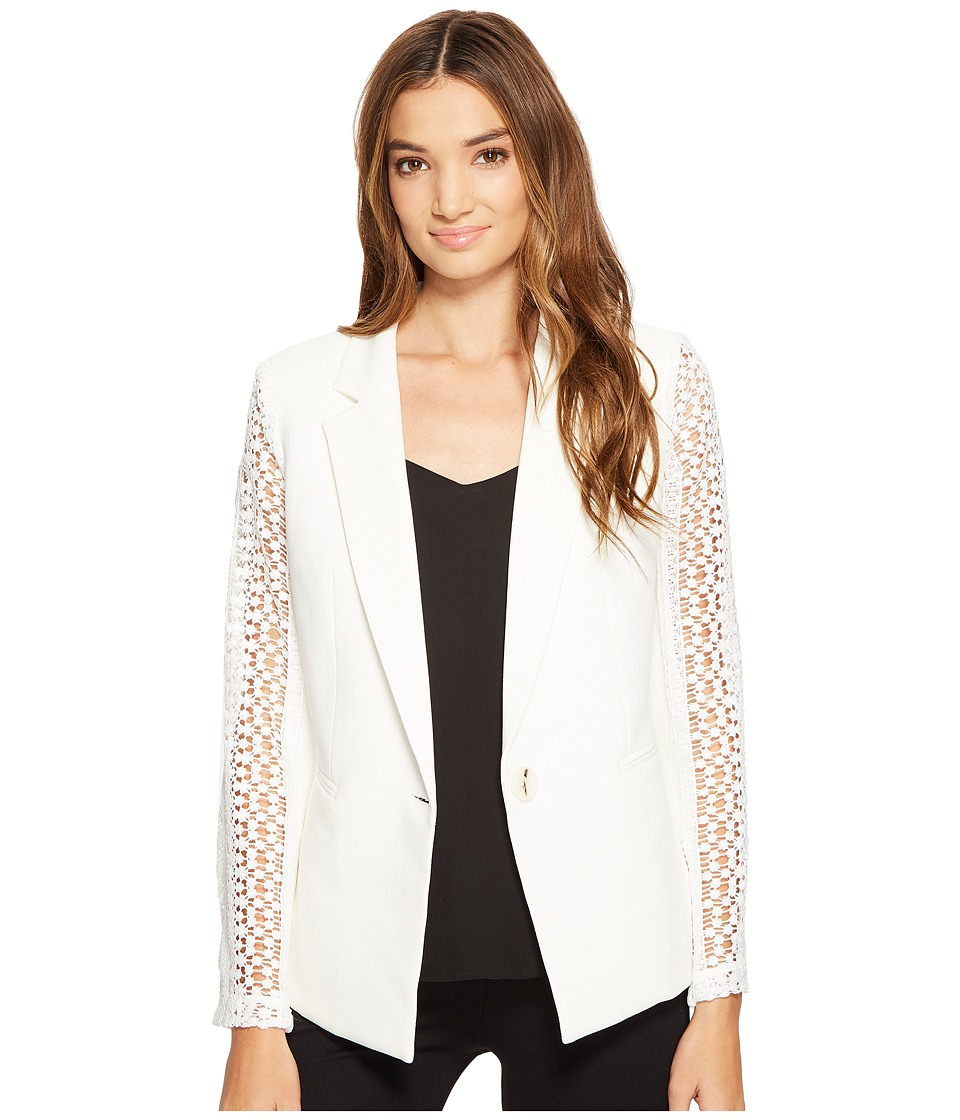 XOXO - Lace Contrast Jacket w/ Welt Pockets (Ivory) Women's Coat