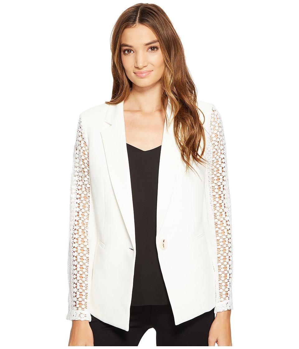 XOXO - Lace Contrast Jacket w/ Welt Pockets (Ivory) Women's Coat