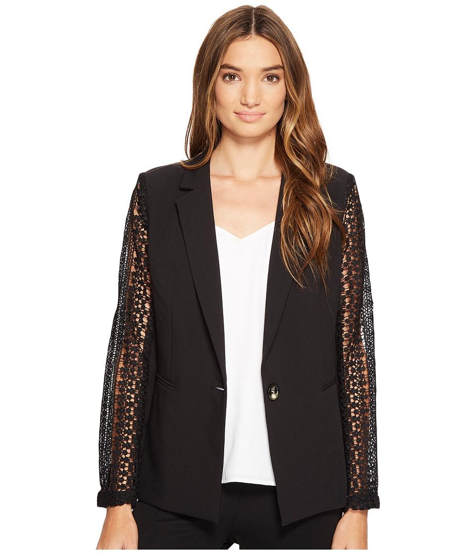 XOXO - Lace Contrast Jacket w/ Welt Pockets (Black) Women's Coat