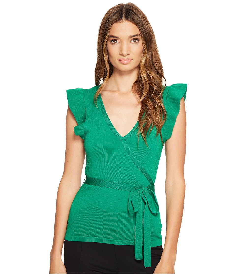 XOXO - Short Sleeve Wrap Front Ruffle Sleeve Top (Green) Women's Clothing