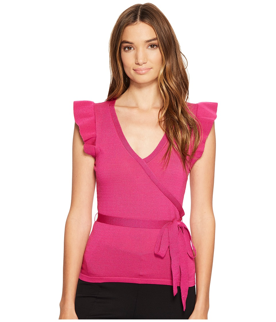 XOXO - Short Sleeve Wrap Front Ruffle Sleeve Top (Pink) Women's Clothing