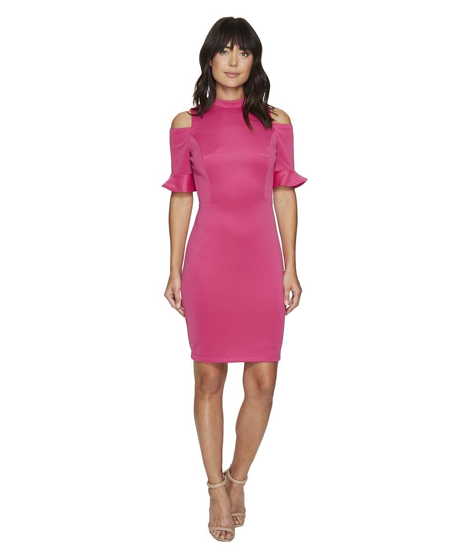 XOXO - 36 Cold Shoulder w/ Sleeve Ruffle Dress (Pink) Women's Dress