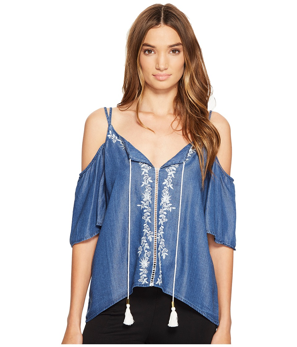 XOXO - Cold Shoulder Embroidered Top (Indigo) Women's Clothing