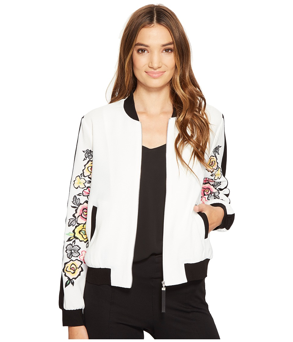XOXO - Bomber Jacket w/ Embroidered Sleeves (Ivory) Women's Coat