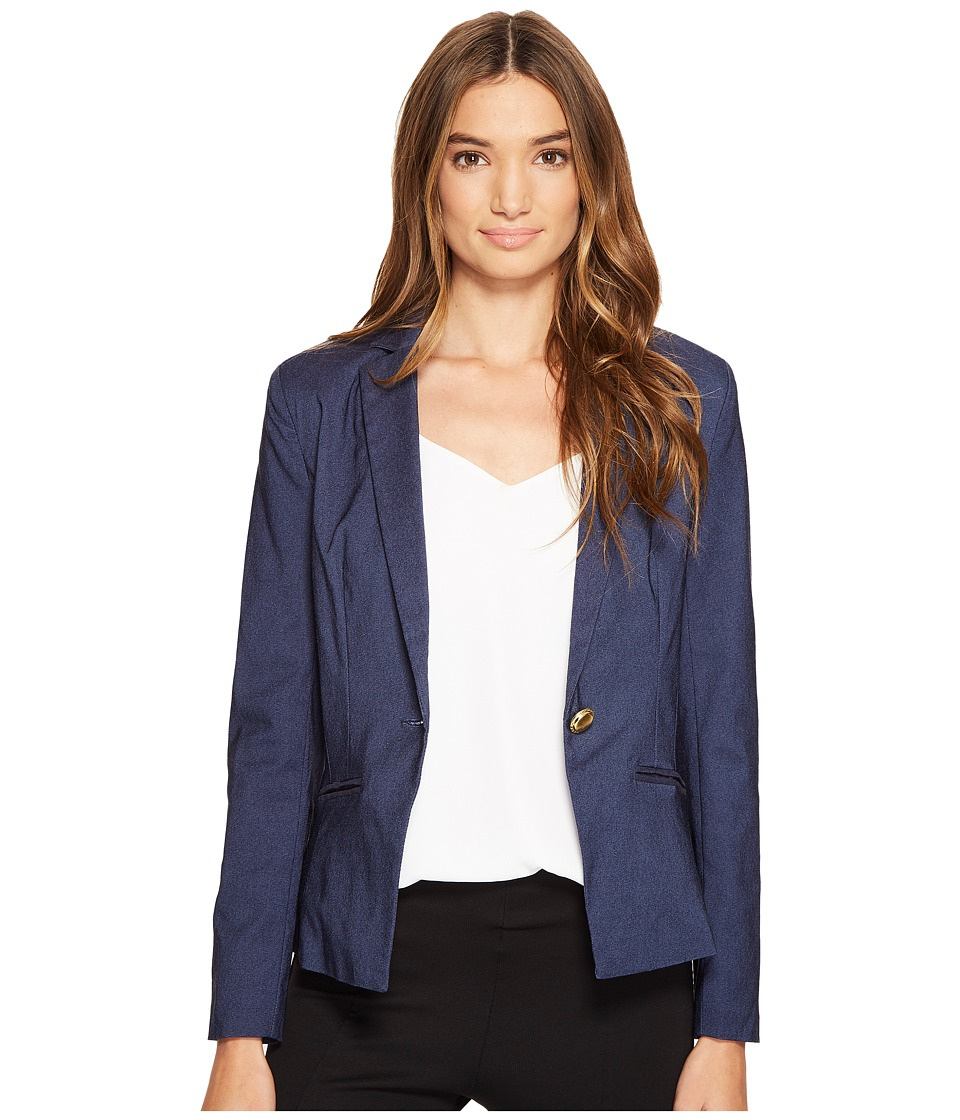 XOXO - Single Button Blazer w/ Welt Pockets (Indigo) Women's Jacket