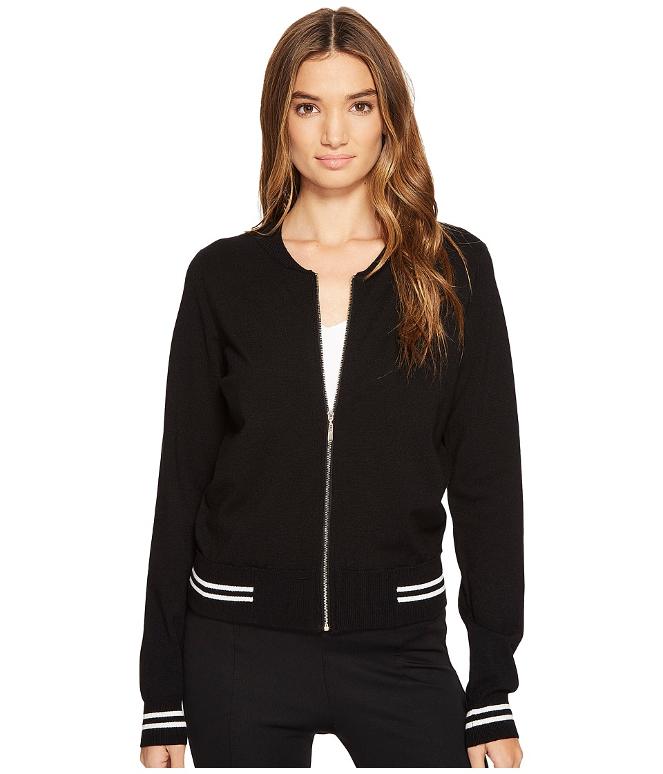 XOXO - Long Sleeve Sweater Bomber (Black) Women's Coat