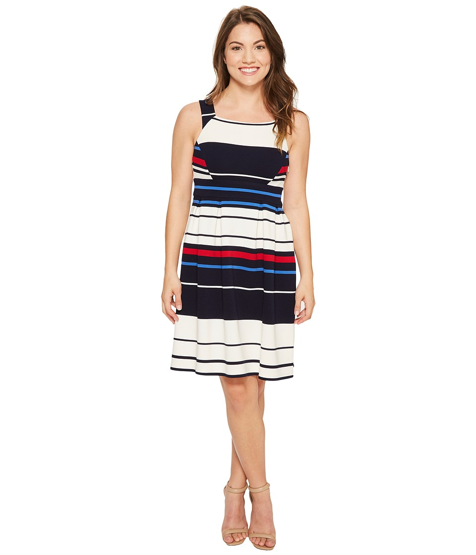 Adrianna Papell Petite Sleeveless Ottom Stripe Fit Flare Dress (Blue Multi) Women