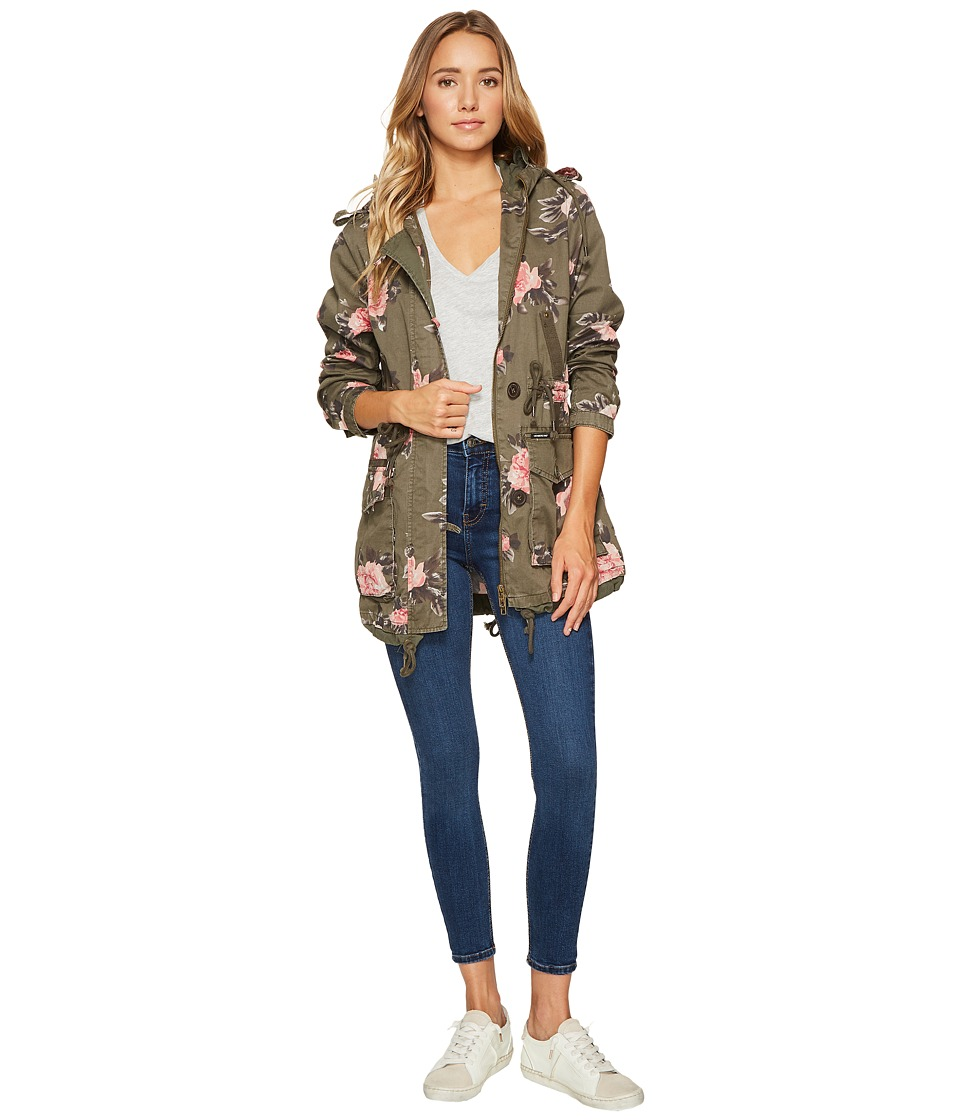 Members Only - Olive Floral Anorak (Olive Floral) Women's Coat