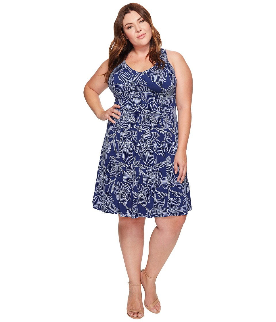 Adrianna Papell - Plus Size Cross Back Fit Flare Dress (Blue/Light Blue) Women's Dress