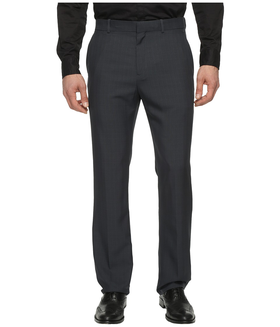 Perry Ellis Portfolio - Modern Fit Plaid Performance Pants (Blueprint) Men's Dress Pants