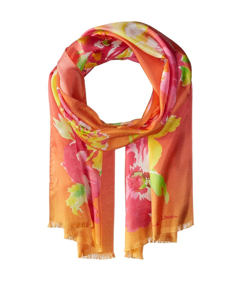 LAUREN Ralph Lauren - Lara Silk Twill Scarf (Bold Pink) Scarves