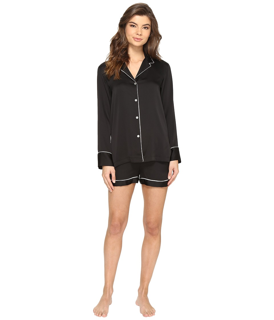 Natori - Feathers Satin Boxer Pajama (Black) Women's Pajama Sets